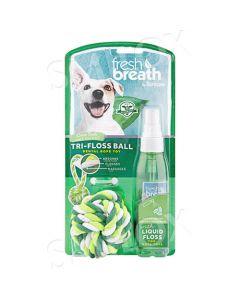 TropiClean Fresh Breath Tri-Floss Ball with Liquid Floss Dental Spray